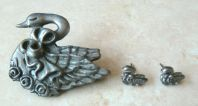 Vintage Pewter Swan And Baby Cygnet Brooch And Earring Set.